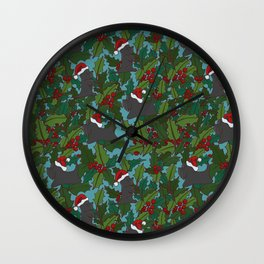 Christmas Dog Pattern Wall Clock