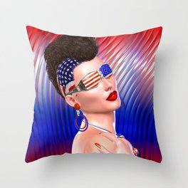 4th of July Punk girl with Mohawk hairstyle and stars and stripes glasses. Throw Pillow