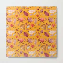 Autumn Leaves Pattern Orange Colorway Metal Print