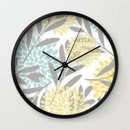 Floral Prints, Leaves and Blooms, Gray, Yellow and Aqua Wall Clock