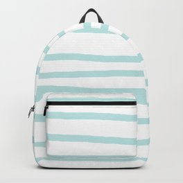 Simply Drawn Stripes Succulent Blue on White Backpack
