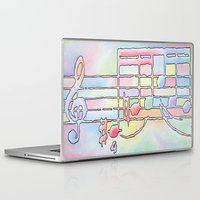 music notes Laptop & iPad Skins featuring Music Notes by Rick Borstelman