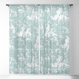 Traditional Hand Drawn Japanese Wave Ink Sheer Curtain