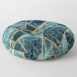 Deep Teal and Gold Stone Art Print Floor Pillow