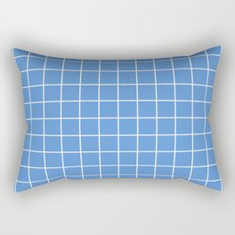 Grid Pattern - azure blue and white - more colors Rectangular Pillow