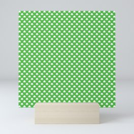 White Heart-Shaped Clover on Green St. Patrick's Day Mini Art Print