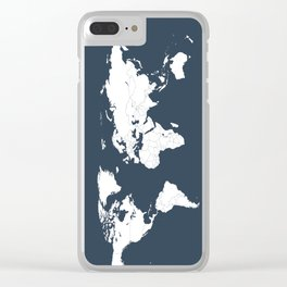 Minimalist World Map in Navy Blue Clear iPhone Case