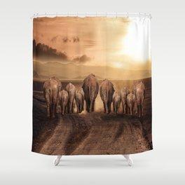 elephant dust road africa savana Shower Curtain