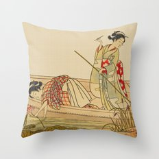 Women Gathering Lotus Blossoms Throw Pillow