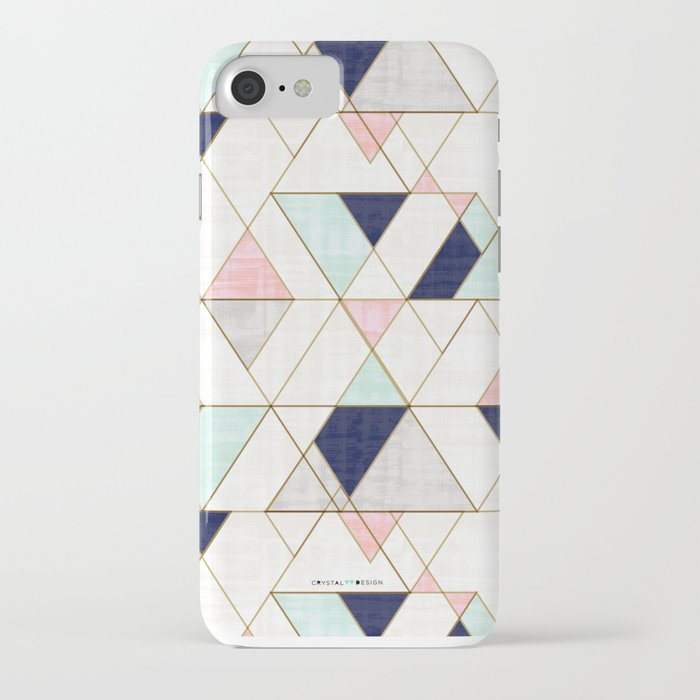 mod triangles - navy blush mint iphone case
