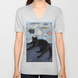 Ivy the Black Cat & The Fish Tank Unisex V-Neck