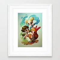 powerpuff girls Framed Art Prints featuring Powerpuff Girls (re-imagined) by Marija Tiurina