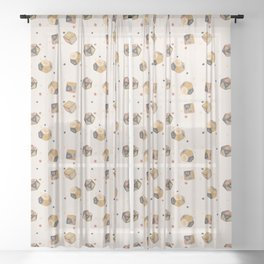 Muted Antique Polyhedral Dice Sheer Curtain