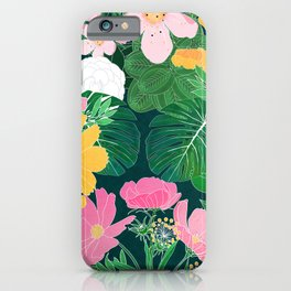 Stylish exotic floral and foliage design iPhone Case