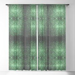 Glamour Dark Green glitter sparkles Sheer Curtain
