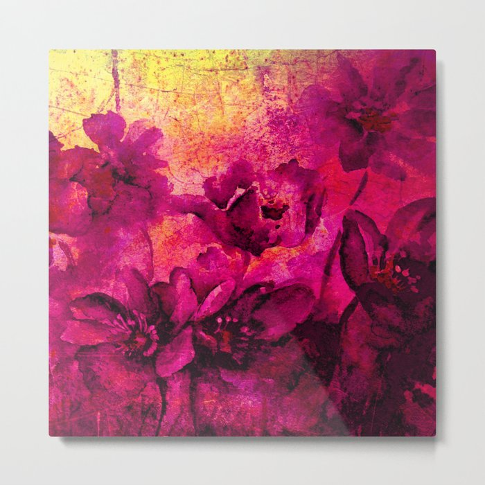 floral in deep pink and yellow Metal Print