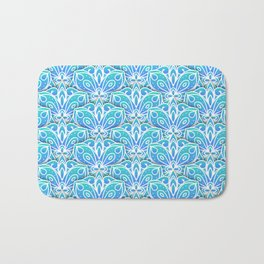 Decorative Layers of Blue Flowers Bath Mat