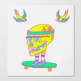 Skull on a skateboard Canvas Print