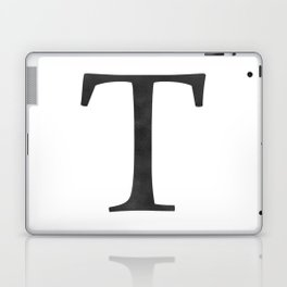 Letter T Initial Monogram Black and White Laptop & iPad Skin