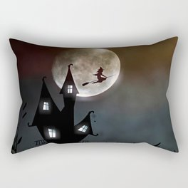 Drawing of a witch leaving her house on a broom in front of a full moon Rectangular Pillow