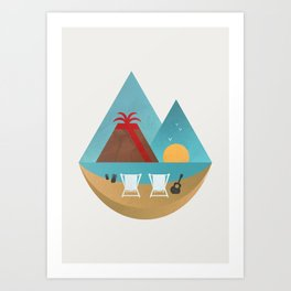 Volcano Sunset Art Print