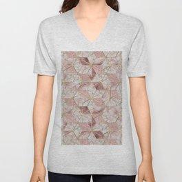 Modern rose gold geometric star flower pattern Unisex V-Neck