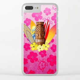 Surfboards And Tiki Mask Pink Flowers Clear iPhone Case