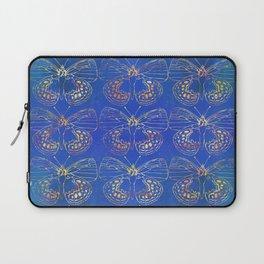 Butterfly Stacks on Blue Watercolor Pattern Laptop Sleeve