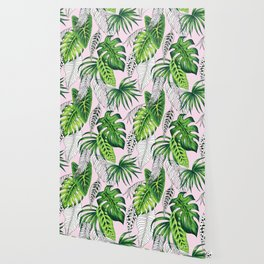 tropical marker pink pattern Wallpaper