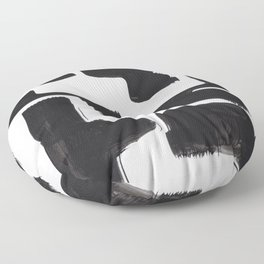Black And White Minimalist Mid Century Abstract Ink Art Abnormal Organic Shapes Tribal Floor Pillow