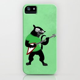 Black Panther with Guitar and Glasses iPhone Case