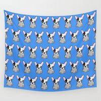 frenchie Wall Tapestries featuring frenchie by turddemon