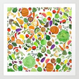 Fruit and Veg Pattern Art Print