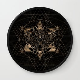 Eagle in Sacred Geometry Composition - Black and Gold Wall Clock