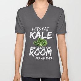 Kale Art for Kids, Vegans and Vegetarians on Diet Dark Unisex V-Neck