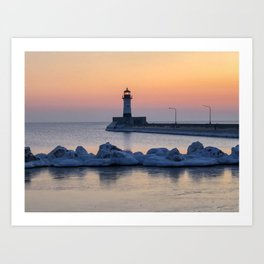 Sunrise at North Pier Lighthouse Art Print