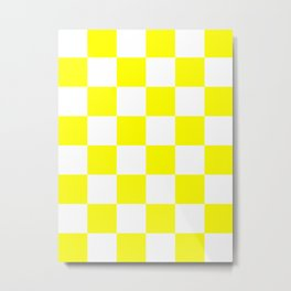 Large Checkered - White and Yellow Metal Print