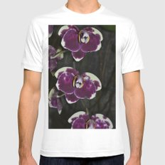 Purple Orchids White Mens Fitted Tee MEDIUM