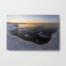 Frozen Herbster Beach during a Winter Sunset Metal Print