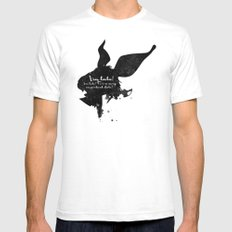 I'm late! – White Rabbit Silhouette Quote Mens Fitted Tee SMALL White