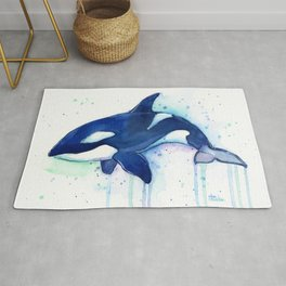 Killer Whale Orca Watercolor Rug