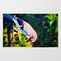 jay fleck Area & Throw Rugs featuring Eurasian Jay by Vix Edwards - Fugly Manor Art