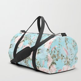 Blush Watercolor Spring Florals On Teal Duffle Bag