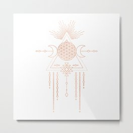 Mandala Flower of Life Moon Pink Rose Gold Metal Print