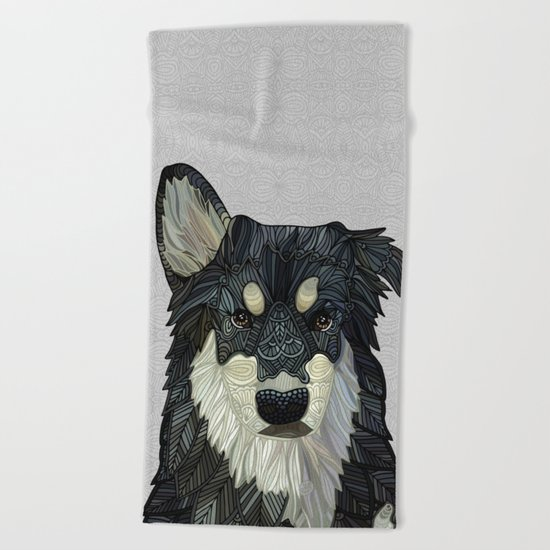 Bjorn - Malamute Samoyed Husky Mix Beach Towel