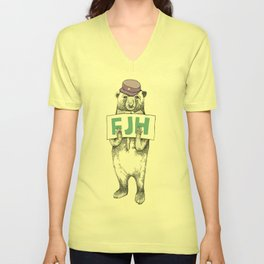 FJH-bear sign Unisex V-Neck