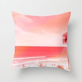 pink beach california Throw Pillow
