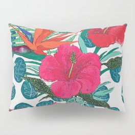 Tropical Bouquet in Living Coral and Emerald Green Pillow Sham