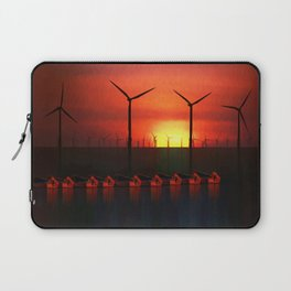 Boats at Sunset (Digital Art) Laptop Sleeve