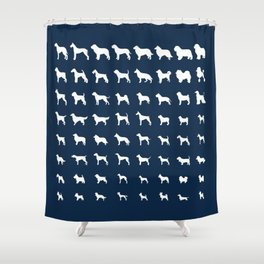 All Dogs (Navy) Shower Curtain